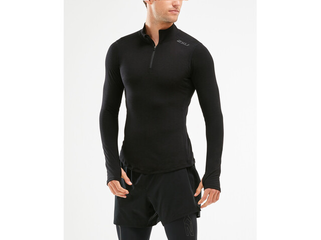2XU Heat Maglietta con zip 1/4 Uomo, black